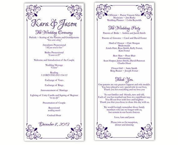 Hochzeit - Wedding Program Template DIY Editable Word File Instant Download Program Purple Program Floral Program Printable Wedding Program 4x9.25inch