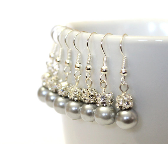 Wedding - 4 Pairs Grey Pearls Earrings, Set of 4 Bridesmaid Earrings, Pearl Drop Earrings, Swarovski Pearl Earrings, Pearls in Sterling Silver, 8 mm