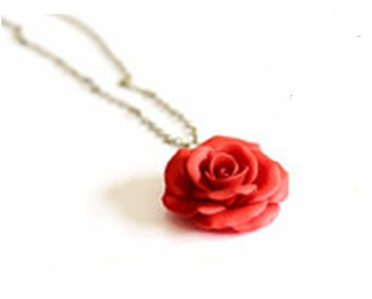 Hochzeit - Red Rose Necklace - Rose Pendant, Rose Charm, Valentine, Love Necklace, Bridesmaid Necklace, Flower Girl Jewelry, Red Bridesmaid Jewelry