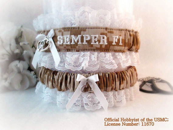Wedding - USMC Wedding Garter Set - Military Wedding Garters - Marine Bridal Garters - Personalized Garters.