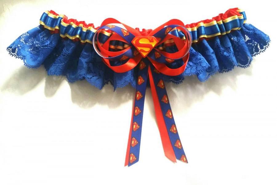 زفاف - Superman Satin/Satin and Lace Garter/Garter Set- Your choice of embellishment