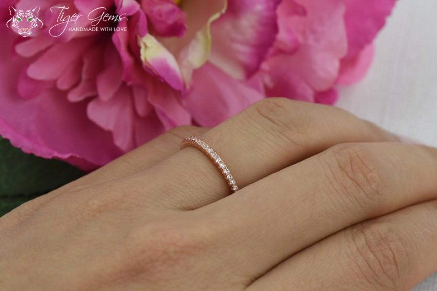 Wedding - Delicate Half Eternity Wedding Band, ROSE Bridal Ring, 1.5mm Stacking Ring, Half Eternity Ring, Man Made Diamond Simulants, Sterling Silver