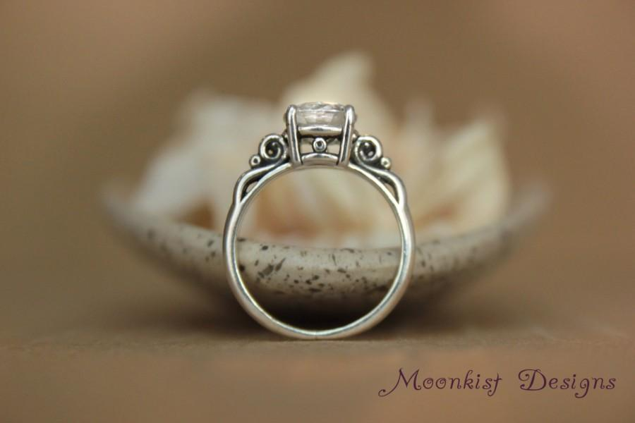 Hochzeit - Victorian Scroll Filigree Engagement Ring with White Sapphire in Sterling - Vintage-style Wedding Ring or Promise Ring - Diamond Alternative
