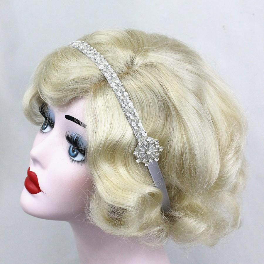 Свадьба - Flapper Headband, Hair Accessory, Great Gatsby, Costume Headpiece, Silver Beaded, Swarovski Crystal, Alternative Bridal