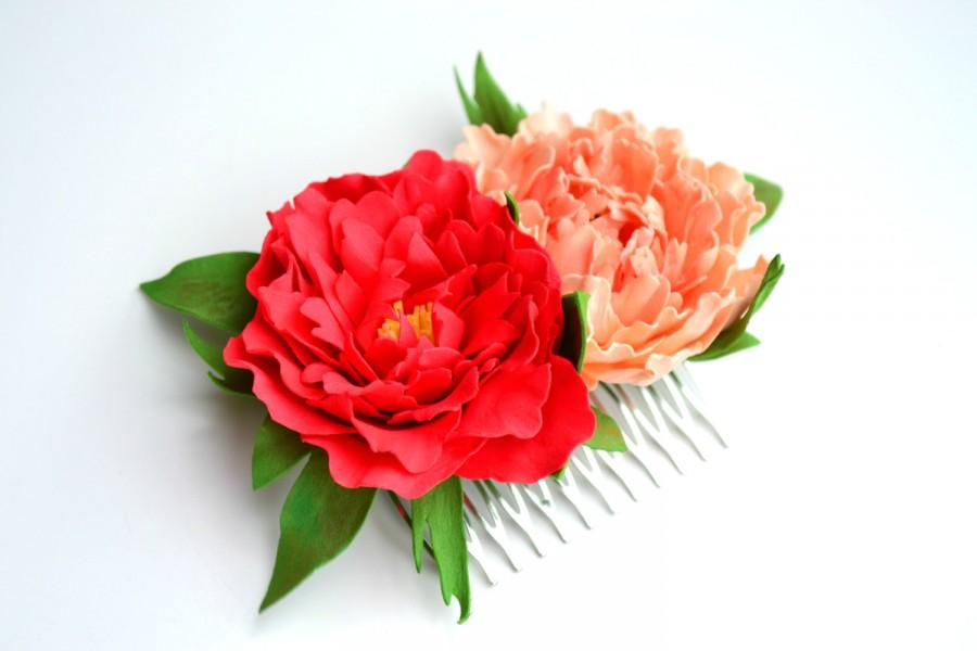 Hochzeit - Red coral pearch peonies flower floral wedding bridal hair comb accessories, peony wedding hair comb, bride flower brigth peony hair comb
