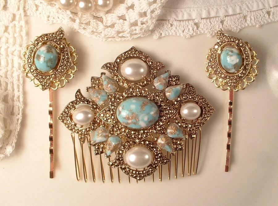 Свадьба - SET Turquoise Ivory Pearl Gold Bridal Hair Comb & Pins, Vintage 1920s Art Deco Antique Gold Aqua Blue Dress Sash Brooch Headpiece Bobby Rose
