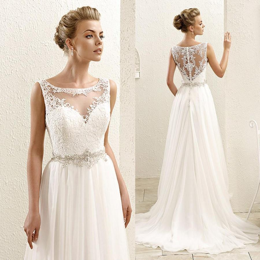 2016 New Sleeveless Lace Illusion Neckline Plus Size Chiffon Wedding Dresses Bridal Gowns Sweep Train On Online With 100 52 Piece Hjklp88 S