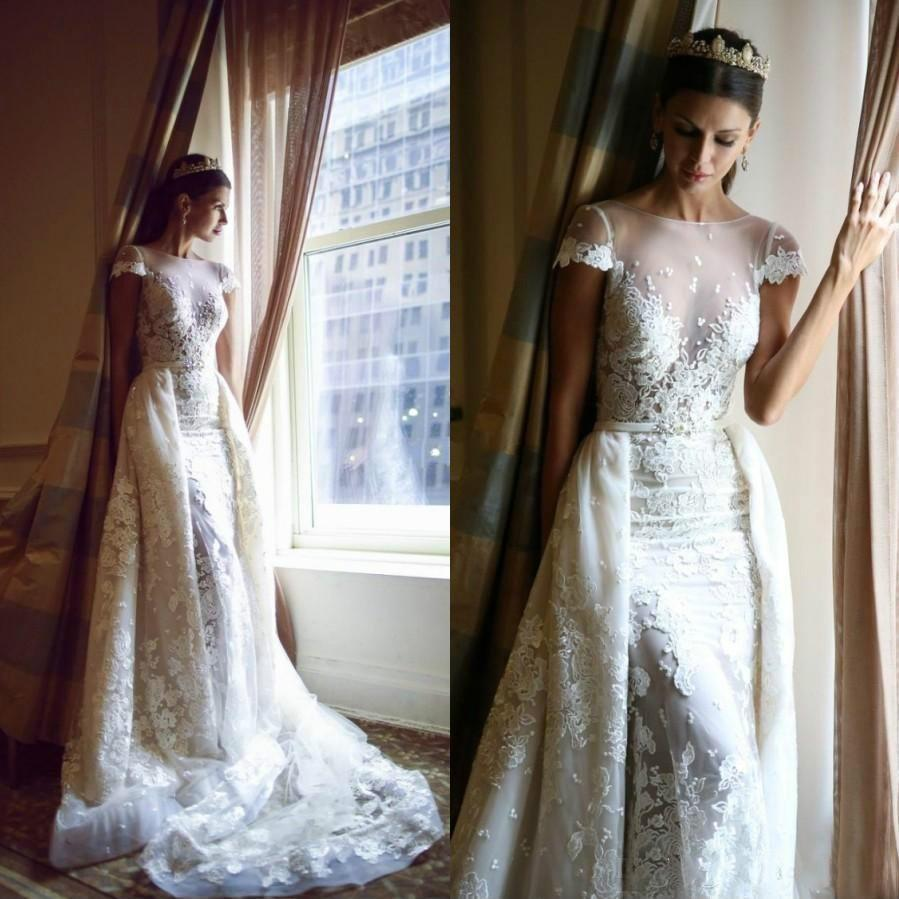 Elegant Lace Sleeve Short Wedding Dresses 2016 Scoop Neck: Sexy 2016 Winter Berta Full Lace Wedding Dresses Short