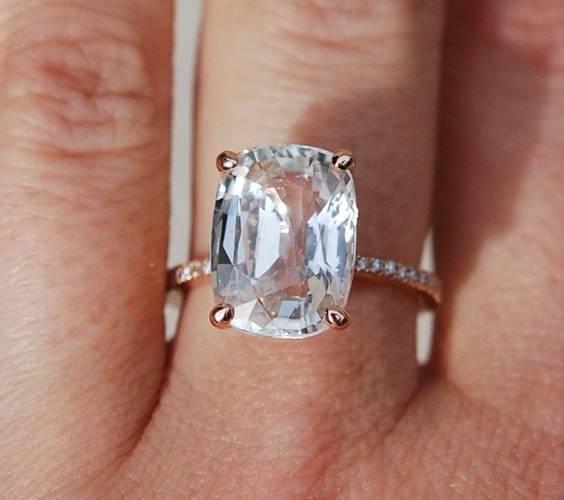 blake lively ring white sapphire engagement ring cushion cut 18k rose gold diamond ring 803ct white champagne sapphire ring - White Sapphire Wedding Rings