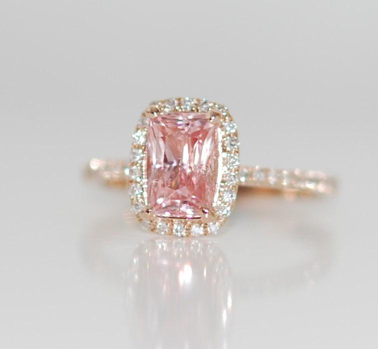 Wedding - reserved down payment -Rose gold ring engagement ring. Peach sapphire 1.63ct cushion sapphire diamond ring.