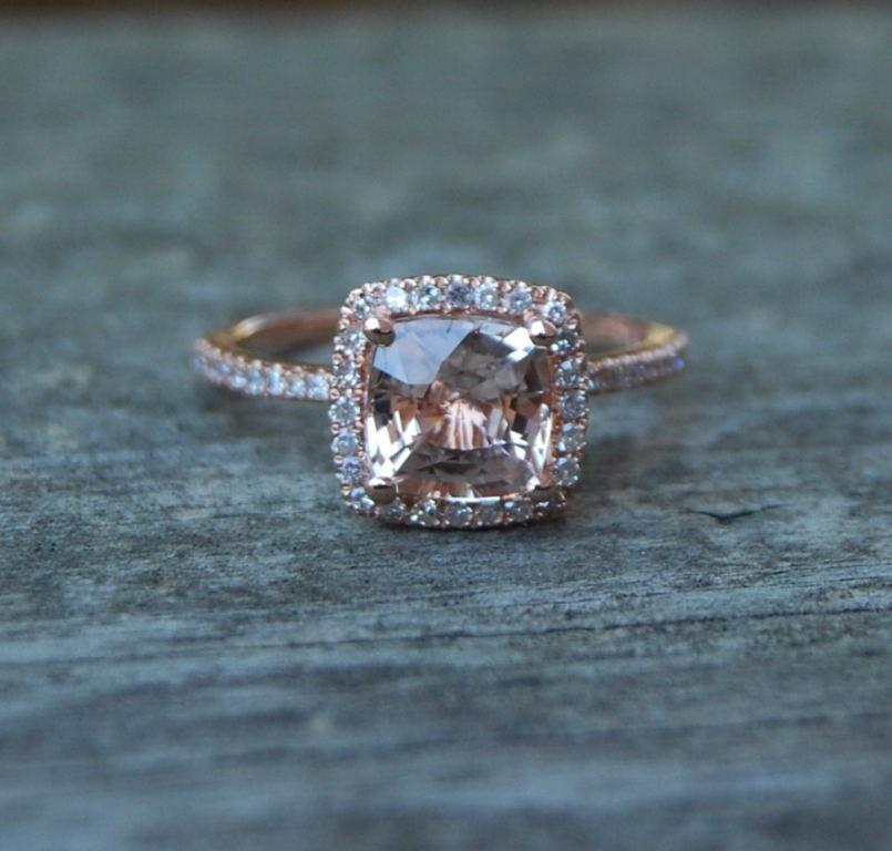 Hochzeit - Rose Gold Engagement ring. Peach Pink Sapphire ring. 1.72ct cushion sapphire 14k rose gold diamond ring. Engagement Rings by Eidelprecious