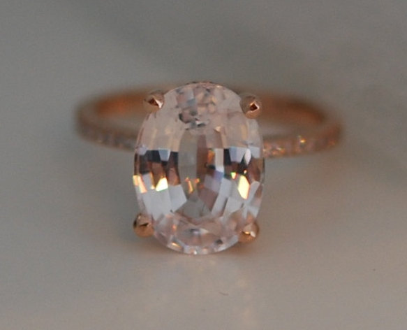 Hochzeit - Blake Lively ring Peach Sapphire Engagement Ring oval cut 18k rose gold diamond ring 5.37ct White sapphire
