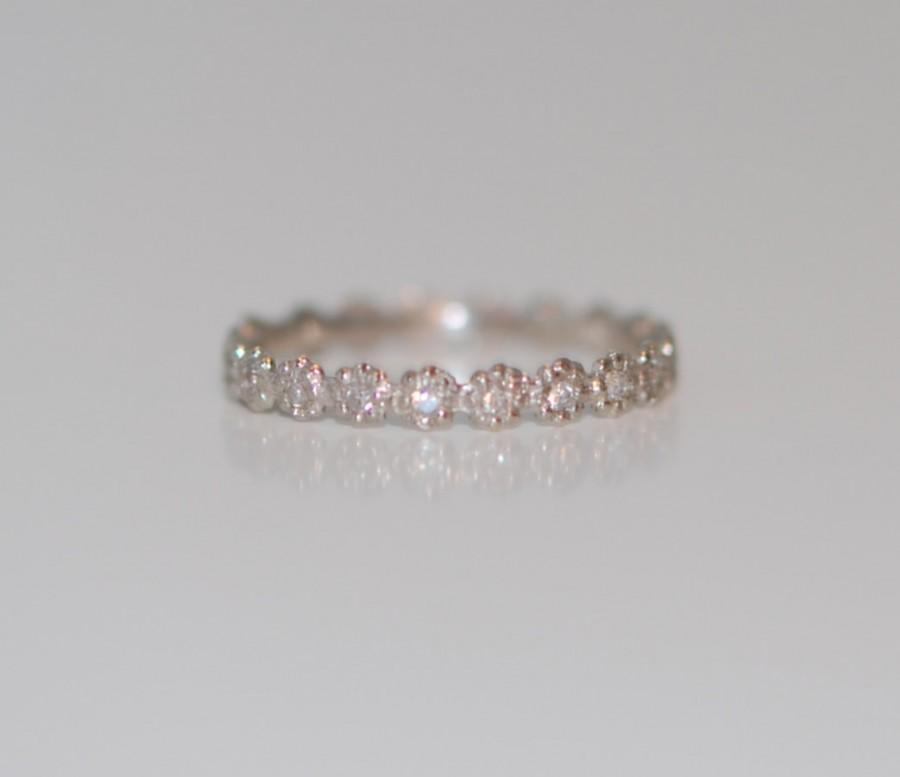 Hochzeit - 1mm Diamond Wedding band matches ANY engagement ring. Eternity band 14k gold Low Profile Band Matching Band Flower Flat band