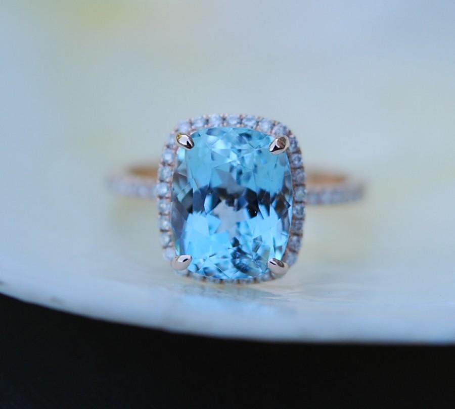 Mariage - Aquamarine Ring 14k Rose Gold Ring 3.47ct Seafoam Blue Green emerald cut aquamarine engagement ring