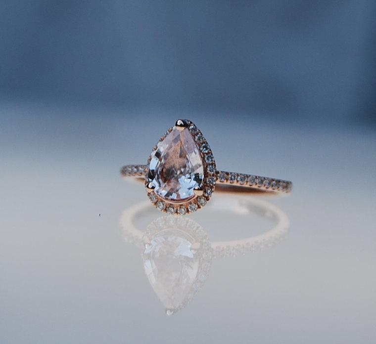 Hochzeit - 1.37ct Pear shape Peach champagne sapphire 14k rose gold diamond ring engagement ring