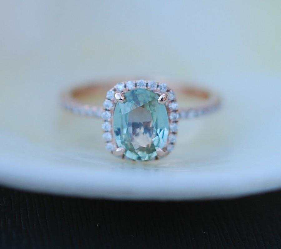 Rose Gold Engagement Ring Apple Green Sapphire Ring 154ct Cushion