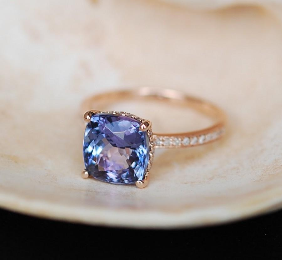Hochzeit - Tanzanite Ring. Rose Gold Engagement Ring Lavender Mint Tanzanite cushion cut halo engagement ring 14k rose gold.