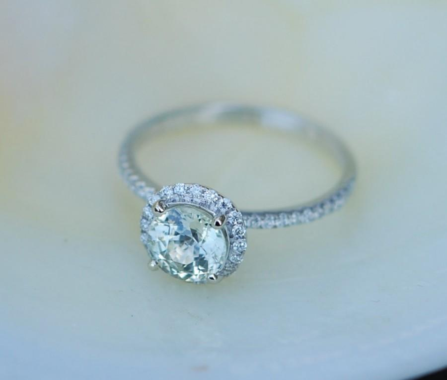 Wedding - Jasmine sapphire ring 1.28ct unheated sapphire halo diamond ring 14k white gold engagement ring