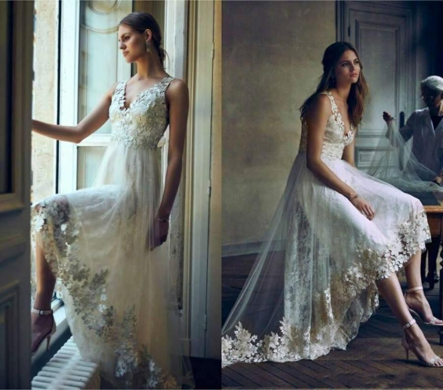 2016 Romantic High Low Lace Wedding Dresses Garden Spring