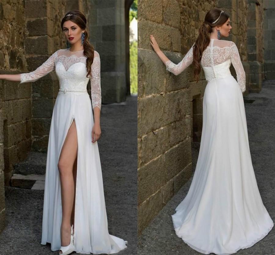 Exquisite Beach Wedding Dresses 2016 Sheer Sexy Front Split Bohemian