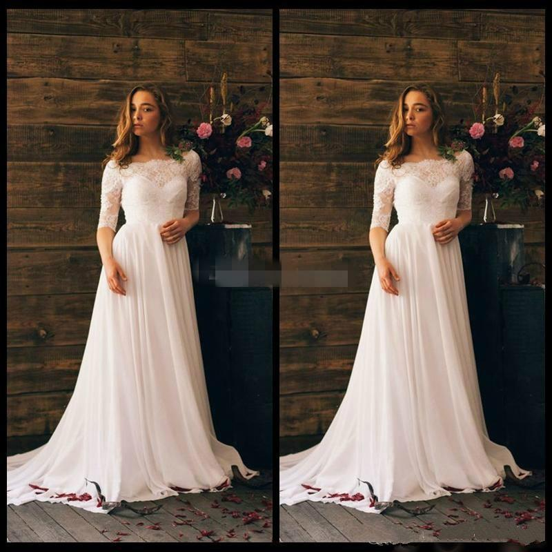 Stunning Arabic Garden Beach Summer Lace Wedding Dresses Sheer Half Sleeve 2016 White Chiffon Liques Simple Bridal Gowns Ball Online With 97 43 Piece On