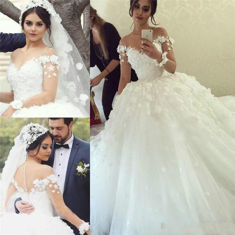 Amazing 2016 Long Sleeves Illusion Wedding Dresses Lace