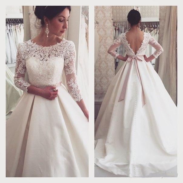 a5c839e1ab9 Vintage Lace Winter Fall Wedding Dresses 3 4 Long Sleeve Sheer Illusion  Cheap Satin Covered Button Plus Size Bridal Ball Gowns With Belts Online  with ...