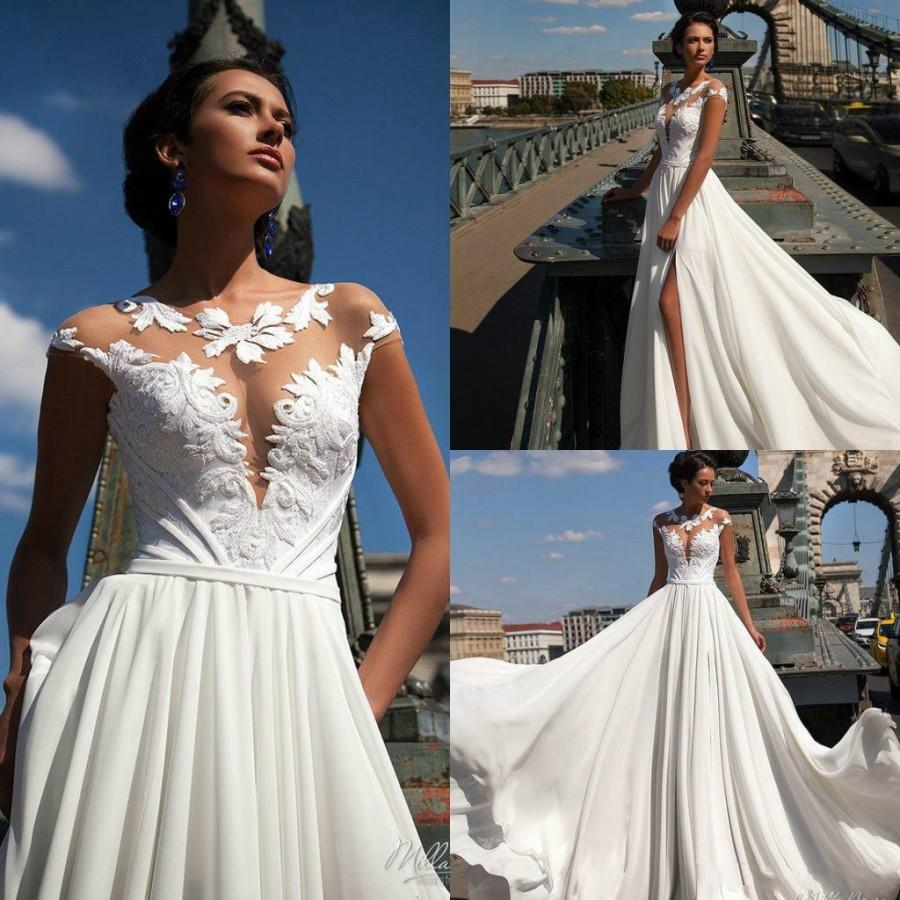 Wedding Gowns Online Cheap: Sexy Side Split Wedding Dresses Jewel Neck Cap Sleeve 2016