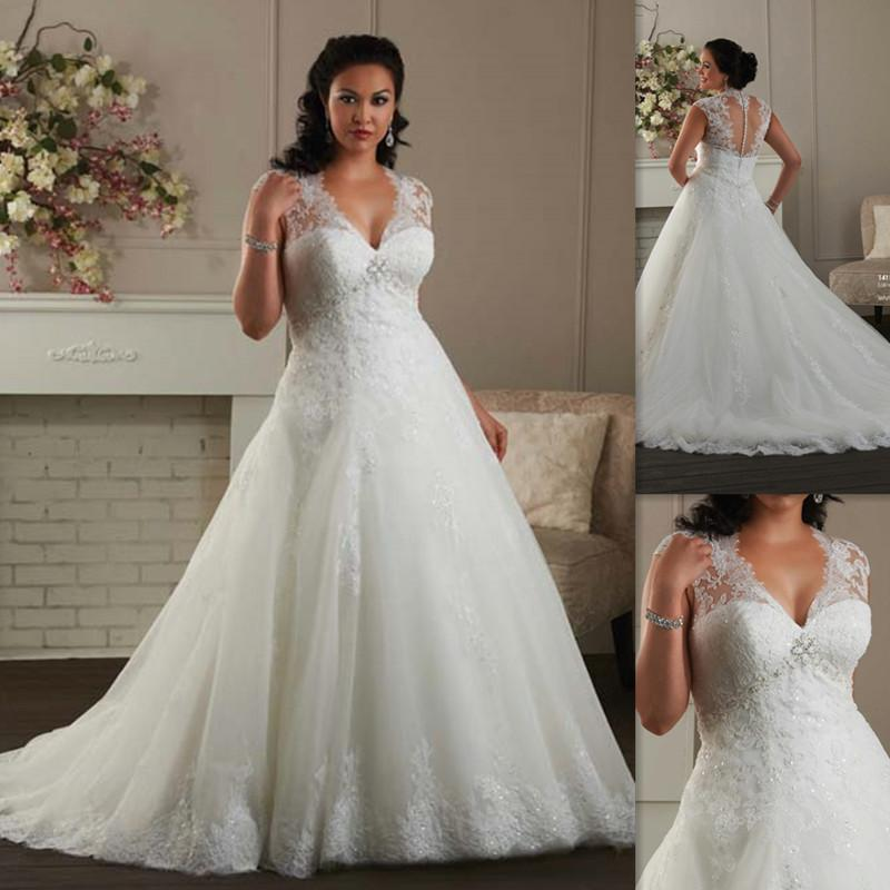 Plus Size Wedding Dresses 2016 Cap Sleeves A Line White Tulle Appliques Lace