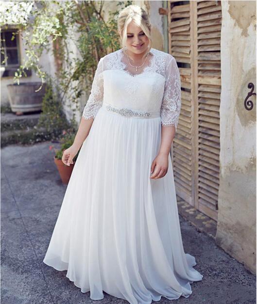زفاف - Hot Illusion Half Sleeves Wedding Dresses Beading Sash Lace Appliques 2016 Plus Size Bridal Dress A-Line Chiffon Women Bridal Ball Gowns Online with $97.43/Piece on Hjklp88's Store