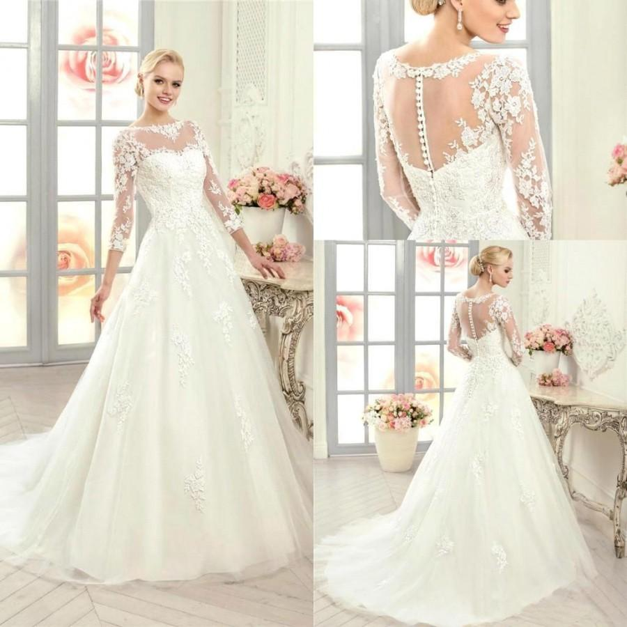 2016 new arrival long sleeves lace a line wedding dresses for Lace button back wedding dress