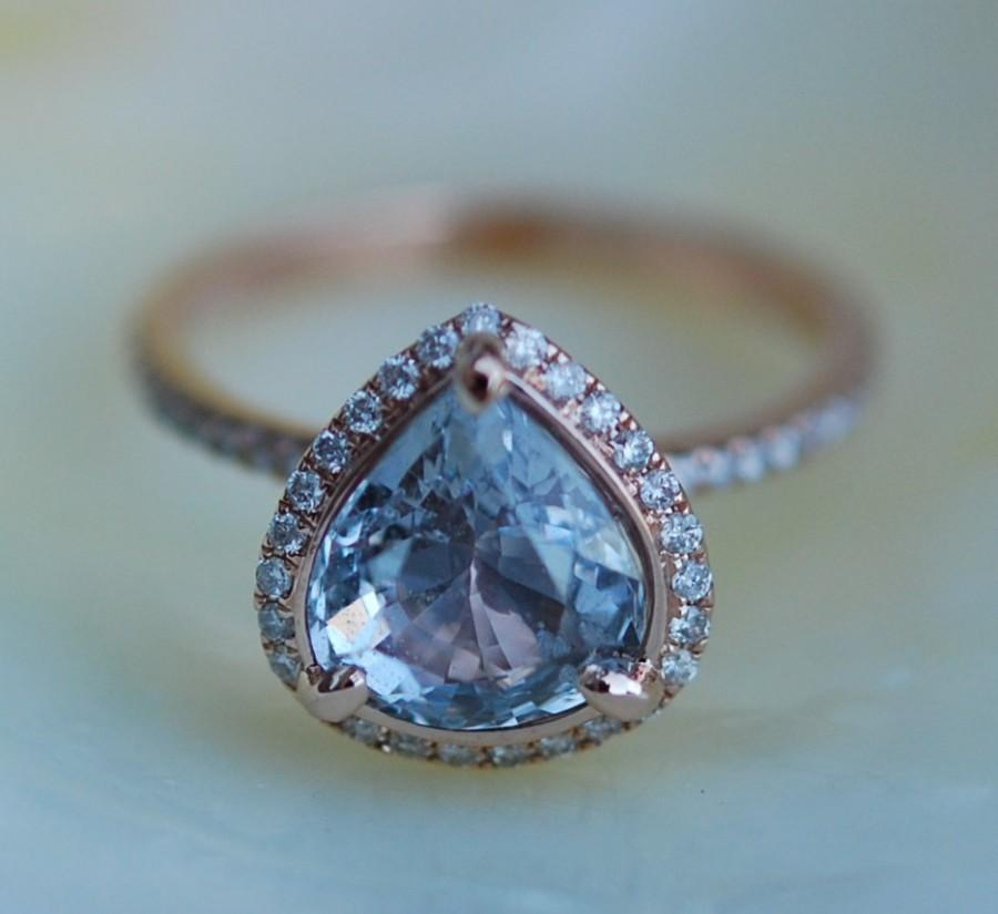 Mariage - Sapphire Engagement Ring Blue sapphire 14k Rose Gold Diamond ring Pear Sapphire Ring