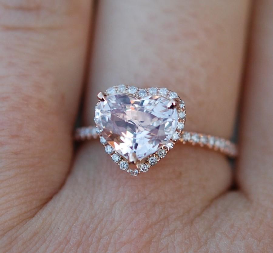 Mariage - Engagement ring. Heart sapphire rose gold ring. 2.25ct Heart Peach sapphire sapphire 14k rose gold diamond ring by Eidelprecious