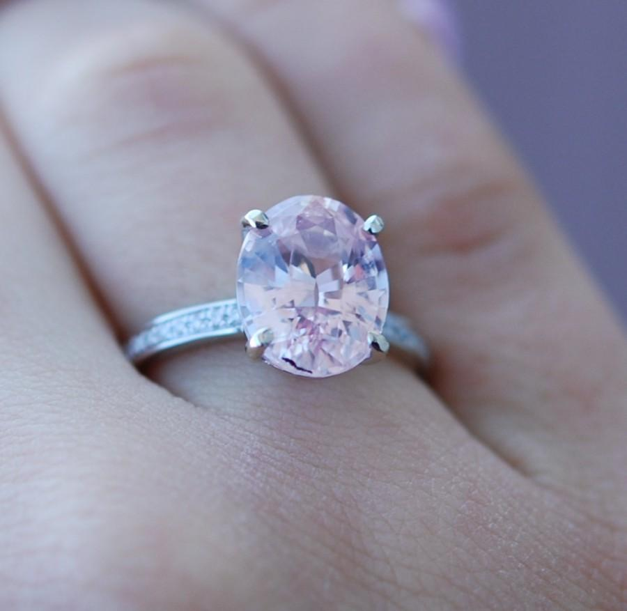 Blake Lively Ring Ice Peach Champagne Sapphire Engagement Ring Oval Cut 14k White Gold Diamond