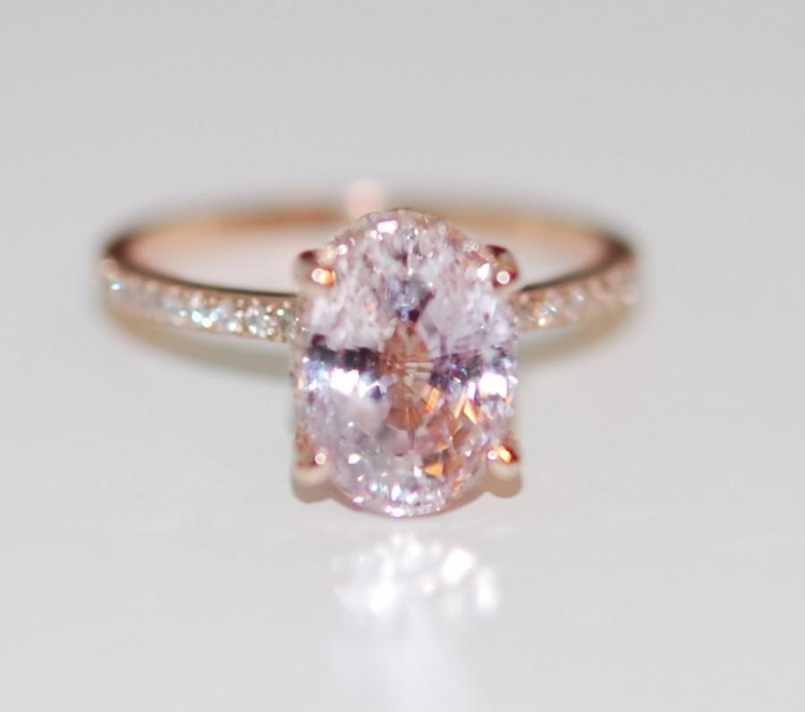 Engagement Ring Diamond Ring 3 58ct Lavender Peach Oval Sapphire Ring Engage