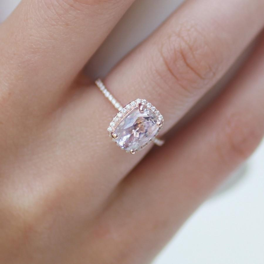Cushion Cut Engagement Ring. 2.8ct Cushion Lavender Peach Champagne  Sapphire 14k Rose Gold Diamond Ring. Engagement Rings By Eidelprecous.
