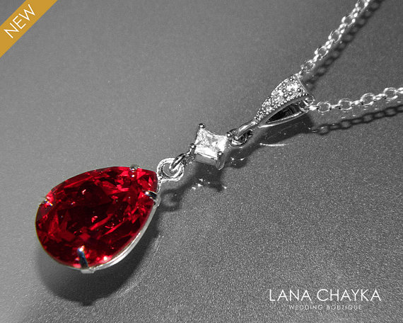Wedding - Red Crystal Necklace Dark Red Rhinestone CZ Necklace Swarovski Siam Bridesmaid Silver Necklace Wedding Red Jewelry Teardrop Red Necklace