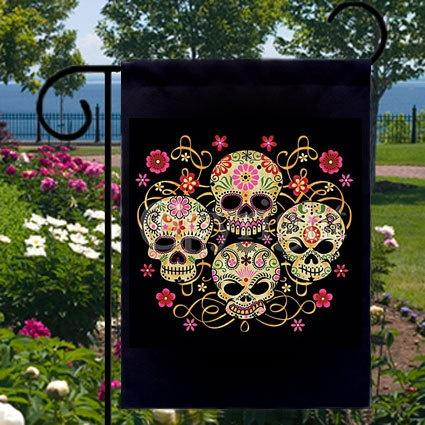 Mariage - Sugar Skulls Day Of The Dead New Small Garden Yard Flag, Cool Gothic Flare