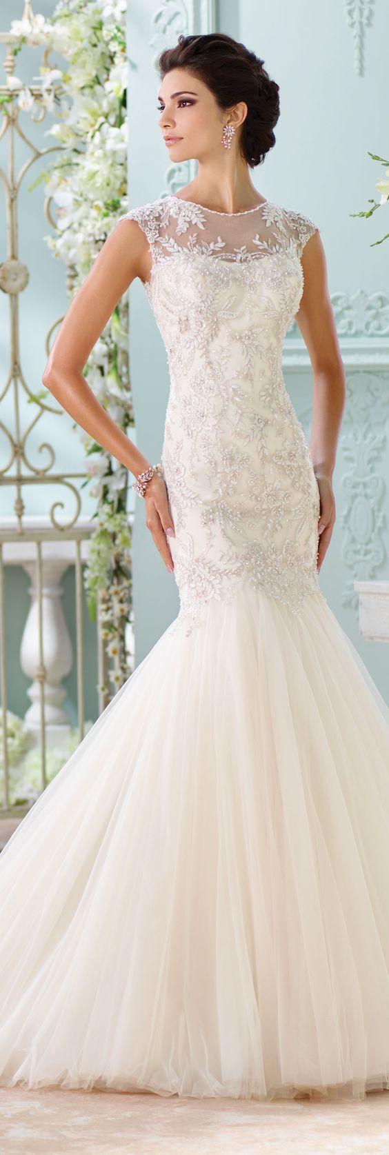 Mariage - Lace Open Back Wedding Dress
