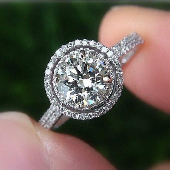 Wedding - 1.00 Carat Round - Double Halo - Pave - Antique Style - Diamond Engagement Ring 14K White Gold - Weddings - Bp019