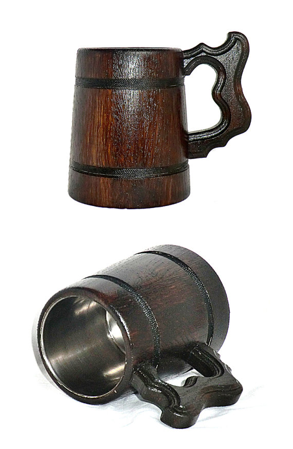 Mariage - Wooden Beer Mug Personalized Beer Mug Tankard 0.3l Groomsmen gift Wedding Gifts for Dad Valentines gifts for him Father's day Gifts for men