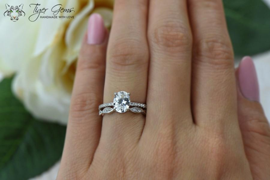 Свадьба - 1.5 ctw Oval Art Deco Swirl Ring, Solitaire Bridal Set, Half Eternity Rings, Man Made Diamond Simulants, Engagement Ring, Sterling Silver