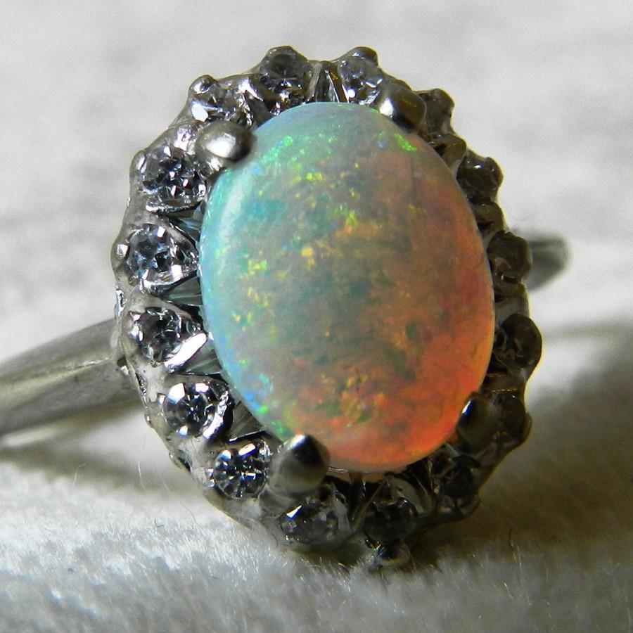 Mariage - Opal Ring Diamond Halo Opal Engagement Ring 14K Opal Diamond Ring Australian Opal Ring October Birthstone
