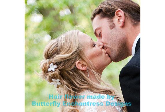Mariage - 6 Pearl Creamy White Stephanotis Flower Bridal Hair Pins