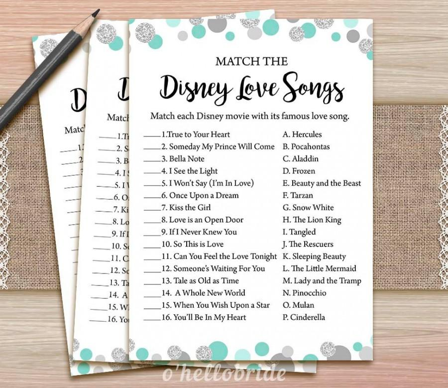 photograph relating to Bridal Games Printable known as Disney Appreciate Music Bridal Shower Recreation - Printable Mint