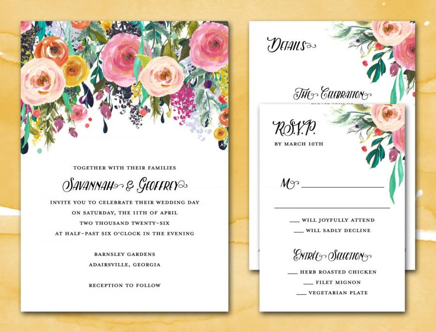 Diy Printable Wedding Invitation Suite Pdf Sublime Watercolor Fl Invite