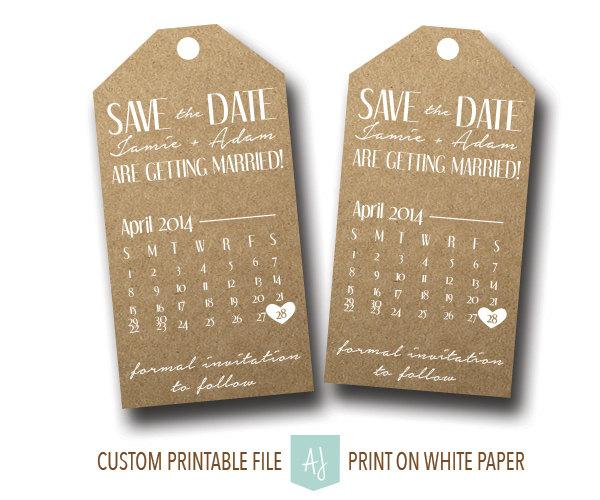 Printable, Save The Date Tags- Rustic Style With Calendar- For The ...
