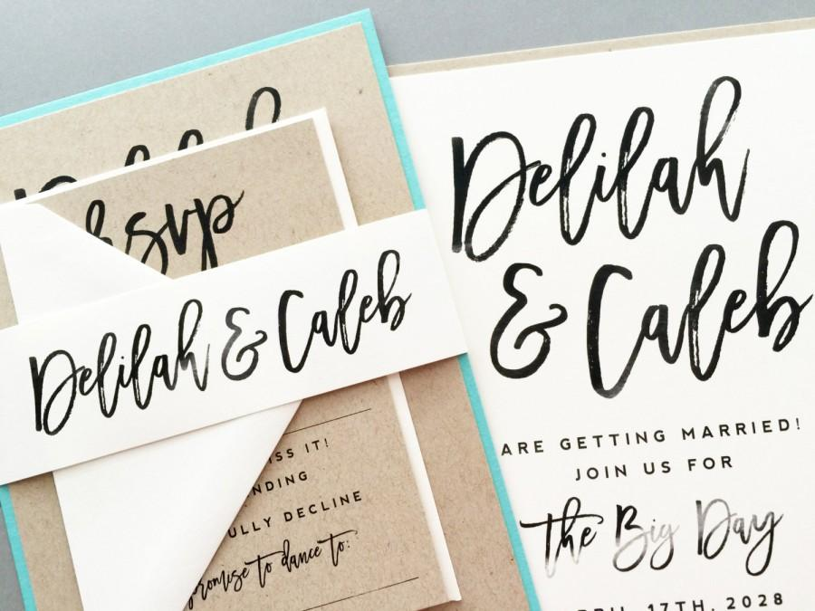 Wedding invitation invite modern calligraphy