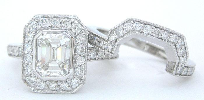 Mariage - Emerald cut diamond engagement ring and band set 2.00ctw