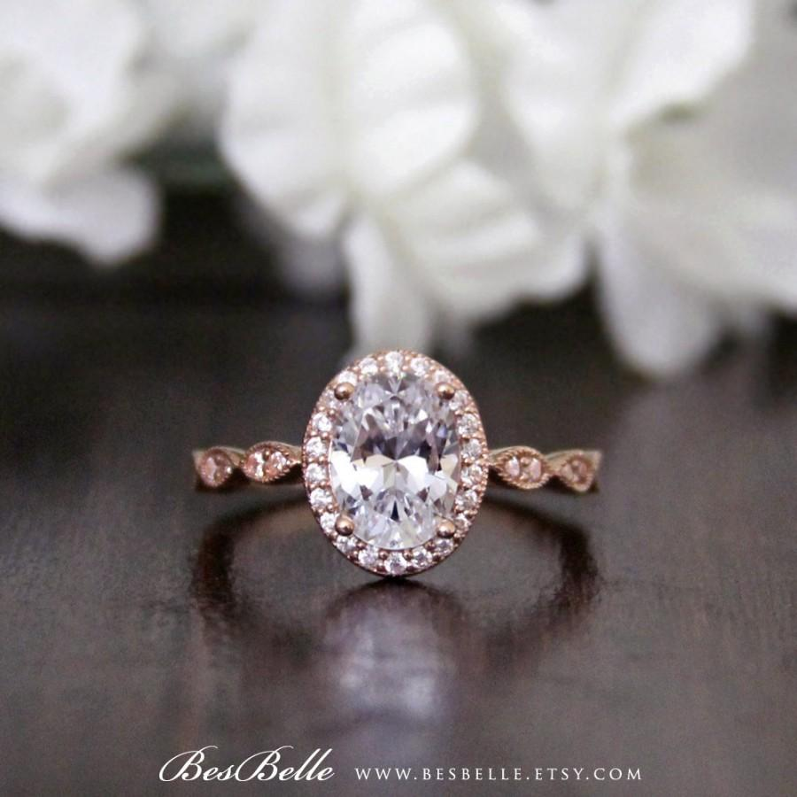 2 55 Ct Tw Rose Gold Art Deco Halo Engagement Ring Oval Cut Diamond